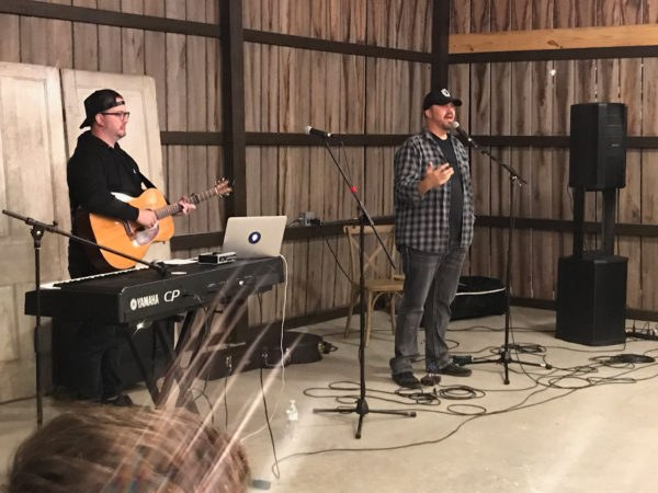 Dustin Smith speaking to men at October 2017 retreat
