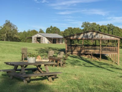 Mobley Ridge Road pavilion with fire pit and event venue near Nashville Tennessee